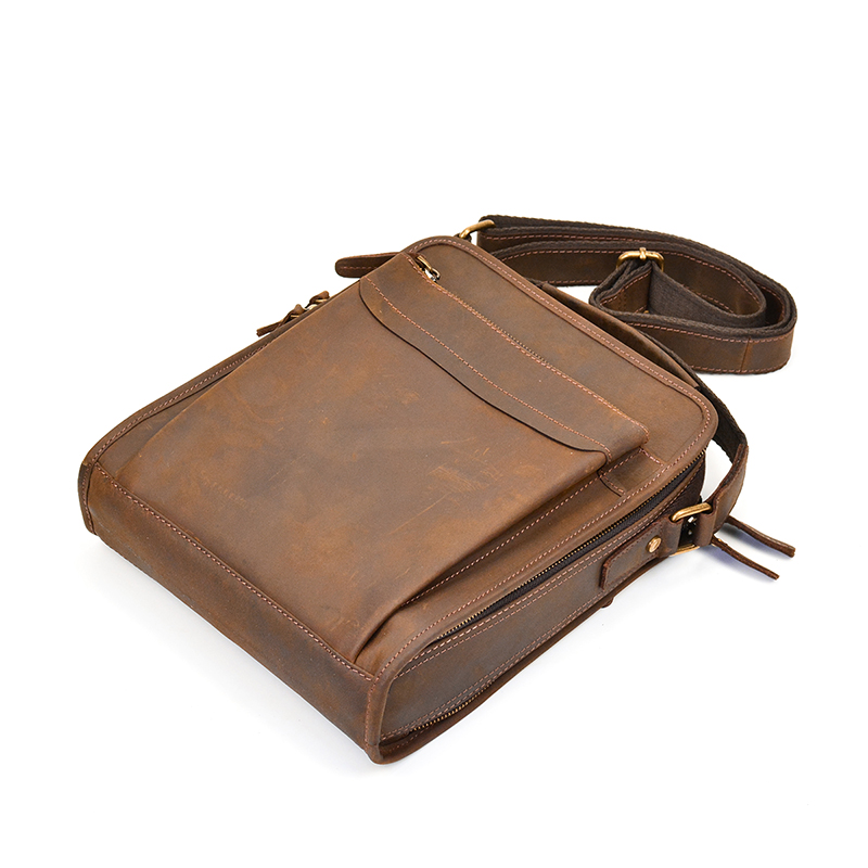 a46459be88 STAG Mens zip around genuine leather messenger bag